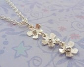 Silver Flower Necklace - Delicate Sterling Silver Daisy Chain Flower Pendant Necklace Handmade