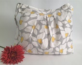 "Water Proof Diaper Bag ""City Hobo"" Large Pleated, Grey and yellow, 6 six pockets, adjustable strap"