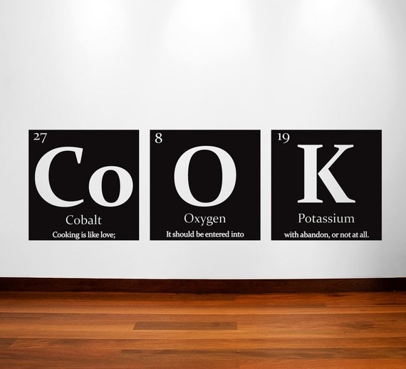 Periodic table of elements COOK Vinyl wall decal - with quote