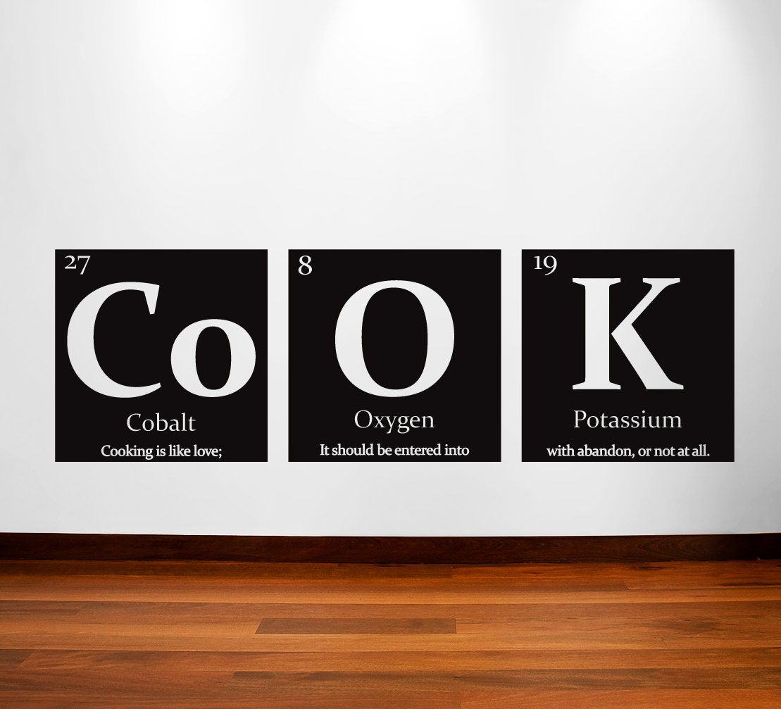 Periodic table of elements cook vinyl wall decal with quote zoom gamestrikefo Gallery