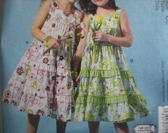 McCall's M6543 Commercial Sewing Pattern New size 6-7-8 Tiered Sundress Children Clothing
