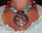 Rustc Western Bling Chunky Necklace with Pendant