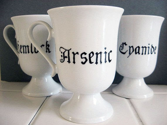 Coffee Cup - Toxic Trio - Hand Painted Tea Cups - Arsenic - Cyanide