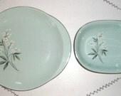 Adorable 1950's  Aqua Green Serving Platter and Bowl