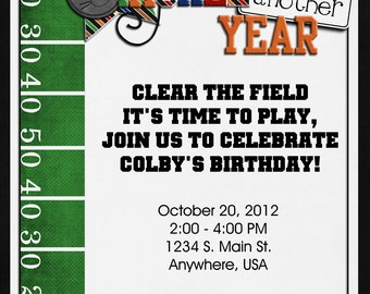 Football Birthday Party Invitation - Digital, Custom, Super Bowl
