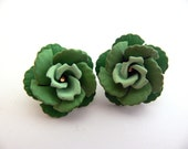 Green Rose Clip On Earrings