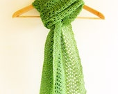 Hand knit lace scarf / shawl in grassy green recycled linen