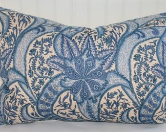IN STOCK / Blue and White Paisley Pillow Cover / 16 X 22 / Linen upholstery with natural canvas back