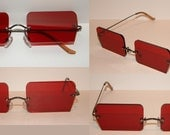 Red Rectangle Cosplay Costume Sunglasses Glasses