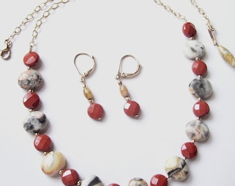 Crazy Lace Agate and Red Jasper Gold Filled Necklace and Earring Set