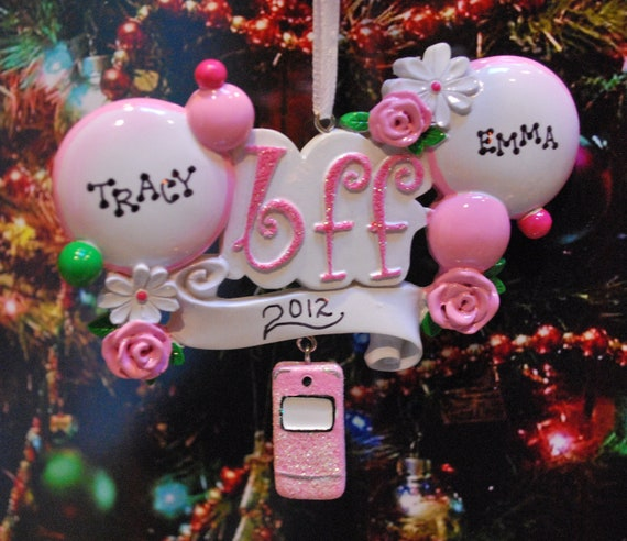 Personalized  BEST FRIENDS (bff) Christmas Ornament