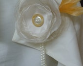Ivory and Pearls Wedding Corsage, Bridal, Mother of the Bride, Bridesmaid Ivory Beaded Organza Flower Corsage Pin or Hair Accessory