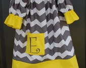 Fall Monogrammed Dress - Peasant Style Gray and Yellow Chevron