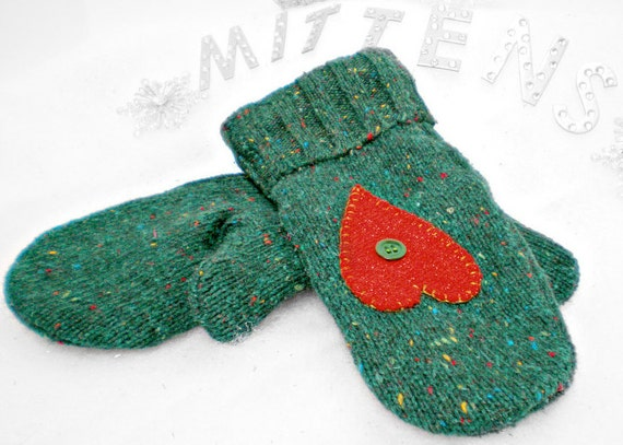 Upcycled, Recycled Repurposed Wool Sweater Mittens