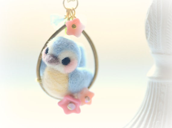 Sweet little needle felted wool bird on flower hoop pendant necklace, blue & pink color