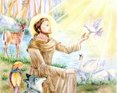 Religious Art, St. Francis of Assisi with animals in forest ,Franciscan Art,  Christian Art, 8x10 art print