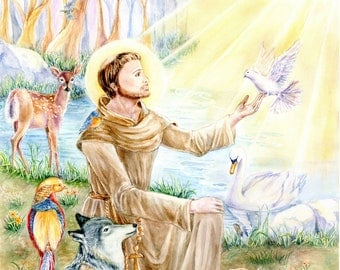 Religious Art, St. Francis of Assisi with animals in forest ,Franciscan Art,  Christian  Art, 11x14 inches art print