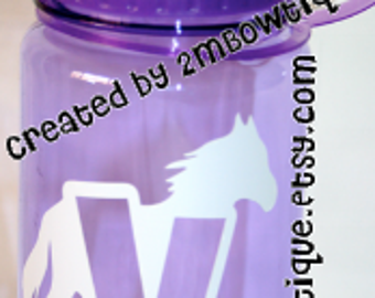 Personalized Kids Water Bottle with Horse Silhouette