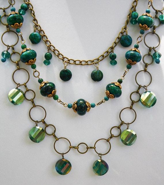 Australian Jasper and Emerald Crystal OOAK Necklace 3639n