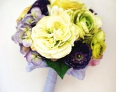 Royal Garden Purple, Chartreuse Green Silk Bridal Bouquet with Cabbage Roses, Hydrangea, Ranunculus & Matching Boutonniere