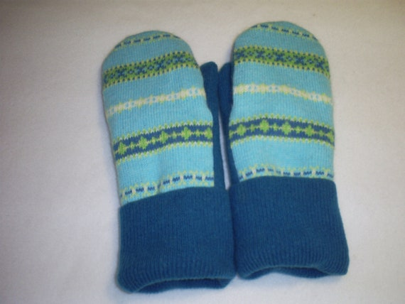 Recycled Wool Mittens - Women's Aquamarine, Teal, White and Green