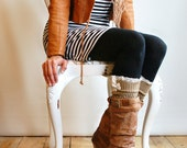 The Lacey Lou Gold  Open-work Leg Warmers w/ ivory knit lace trim & buttons - Legwarmers boot socks boot warmer boot cuff  (item no. 3-11)