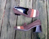 Vintage // 1960's Mod Suede Platforms // Groovy Italian Leather Stacked Heel Pumps // Modernissima // Size 37 7