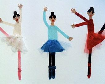 SALE Batik Fabric Collage Art Three Ballerinas