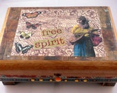 Altered Cigar Box: Free Spirit  Vintage Inspired Rustic Collage