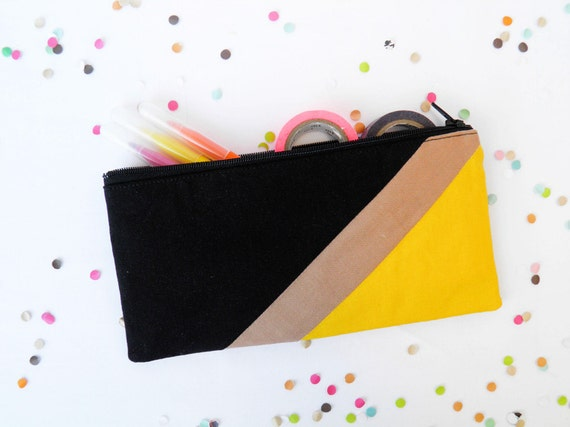 """back to school zipper pouch 4""""X8""""  geometry  pencil case in black and hot yellow"""