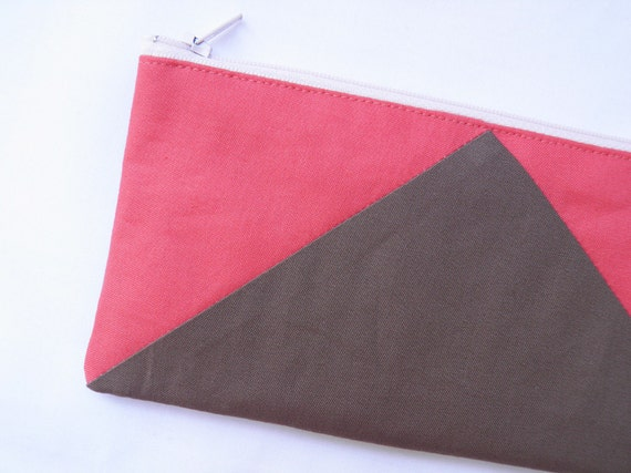 """Neon zipper pouch 4""""X8""""  geometry  pencil case in camel and coral"""