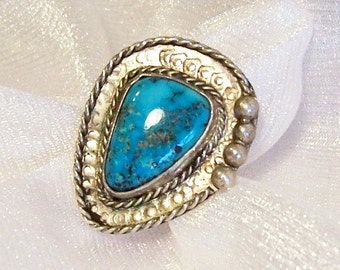 Vintage Turquoise Ring: Western Sterling Silver Ring, Size 7 3/4 - L2009