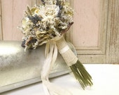Dried Flower Bouquet with Paper and Lace Roses