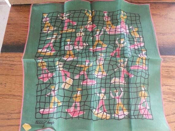 Vintage Handkerchief Tammis Keefe Linen Kimball Sailors Nautical Pink and Green