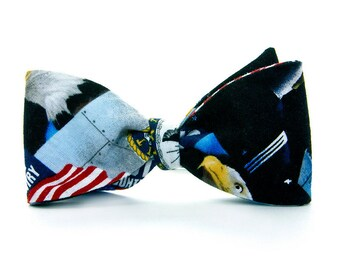 Boys Freestyle Bow Tie Navy School Picture Photo Prop Military Welcome Home