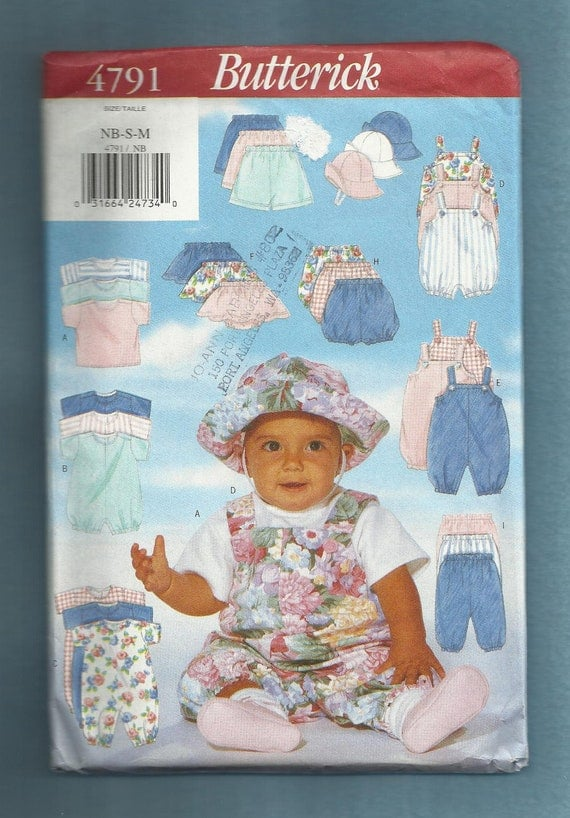 Butterick 4791 Baby Outfits Romper Tee Shirt Hat Jumpsuit & More Size 0 - 21 LBS