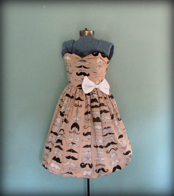 Vintage Inspired Mustache Print Womens Dress Tan and Black Full Skirt Size Medium