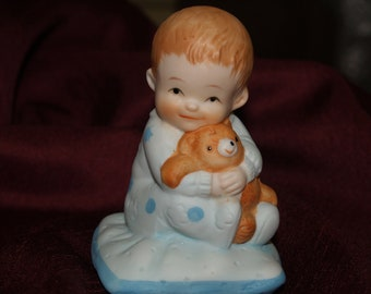 Ceramic Boy Cake topper Vintage toddler boy, vintage retro style ceramic figurine, Baby Shower Gift, New Baby Gift, Party Favor, Centerpiece