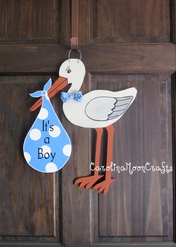 Items similar to new baby boy stork door hanger door decor for Baby boy door decoration