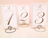 20 Wedding round shaped table number holders- Your choice of color (silver, gold, black)