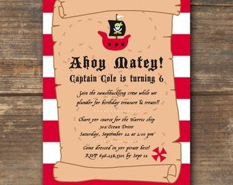 Pirate Birthday Invitation Printable - Ahoy Matey
