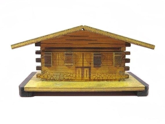 Vintage Wooden  Box Decoratives Boxes French  Chalet