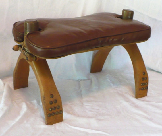 Vtg Yugoslavia Camel Seat Saddle Stool Wood Leather Brass