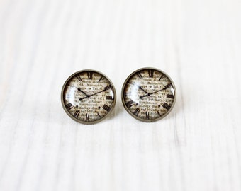 Antique clock earrings studs - vintage ear posts - Shabby Chic, time, beige, dial
