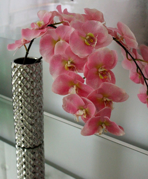 Fine Silk Flowers, Faux Light Pink Phalaenopsis Orchids by La Fleur