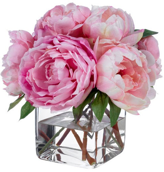 Fine Silk Floral Arrangement Faux Mixed Pink Peonies by  : il570xN357743962lkwe from www.etsy.com size 486 x 509 jpeg 63kB
