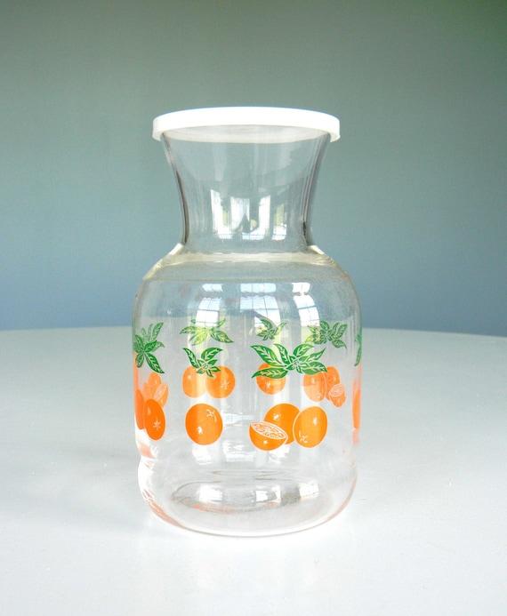 Vintage Orange Juice Pitcher Glass Decanter