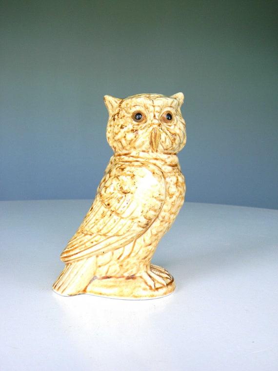 Vintage Owl Figurine Ceramic Tan Cream Decor