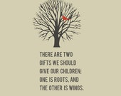 Roots & Wings Quote 8x10 art print - Free Shipping, home decor