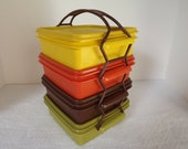 Vintage Retro Four Tupperware Harvest Sandwich Boxes 1362 With Carrying Handle 1365 Circa 1970's